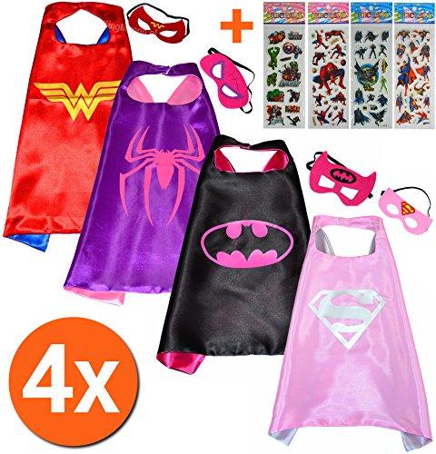 Wonderwoman + Spidergirl + Batgirl + Supergirl (Set 4 Stück) + 4 Aufkleber! Umhänge und Maske - Superhelden-Kostüme für Kinder Cape und Maske - Spielzeug Verkleiden & Kostüme Mädchen Fasching oder Motto-Partys! - King Mungo - KMSC035 (Batgirl Kostüm Set)