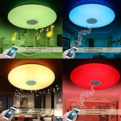 LED Deckenleuchte mit Bluetooth Lautsprecher Musik Sync Halterung ...