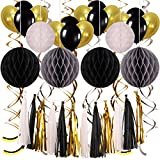 Party Dekoration Set,POAO Geburtstag Party Dekoration mit Wabenbälle Latex Ballons Spiralen Dekoration Papier Quasten Girlande für Party Dekorationen,Geburtstag, Hochzeit, Party, Hauptdekorationen (Schwarz und Golden)