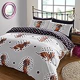 """Dreamscene–""""lunares perro Animal Juego de cama de funda de edredón con fundas de almohada, multicolor, doble"""