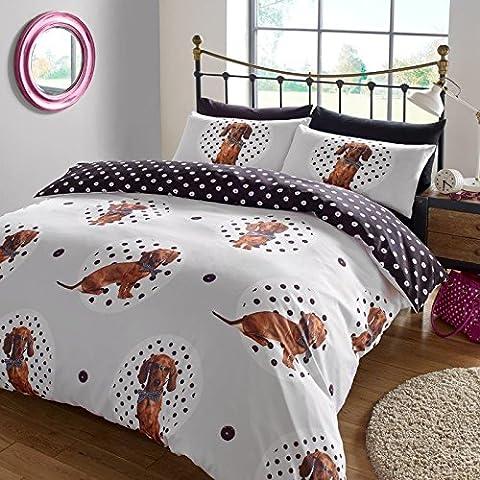 "Dreamscene ""Spotty"" Dog Animal Duvet Cover Bedding Set With Pillowcases, Multi-Colour, Single"