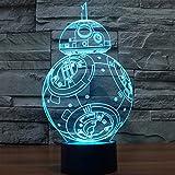 JFL LED 3D Vision Tischleuchte–berührungsempfindliche Taste, 7Farbwechsel, Licht-Skulptur, kunstvolles Motiv, visuell, kreative Beleuchtung, USB, BB-8