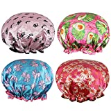 Rovtop Shower Caps,4 Packs Waterproof Shower Caps Elastic Band Shower Hats Double Layer Bath Caps Perfect for Women and Girls