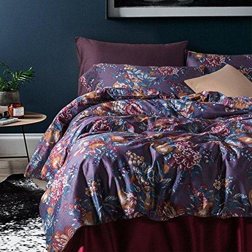 Perkal-doppel-duvet-set (baumwolle bauernhaus stil bettwäsche schlafzimmer flachblech blume druckeffekt Duvet Set 3 stücke 1 bettbezug, 1 bettwäsche, 2 Kissenbezug , 003 , 200x230cm)