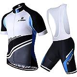 X-TIGER heren fietsshirt set shirt korte mouwen + fietsbroek met zitkussen voor wielersport
