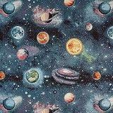 Fabulous Fabrics Jacquard Gobelin Planeten - schwarz/blau -