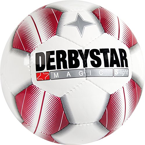 Derbystar Fußball Magic S-Light, Kinder Trainingsball, Ball Größe 4 (290 g), weiß rot, 1185