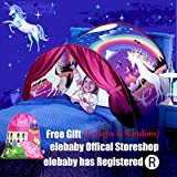 elebaby Kids Bed Tent Unicorn Fantasy Pop up Play Tents Princess Castle Magic Playhouse Girls Birthday Gift Bedroom Decoration