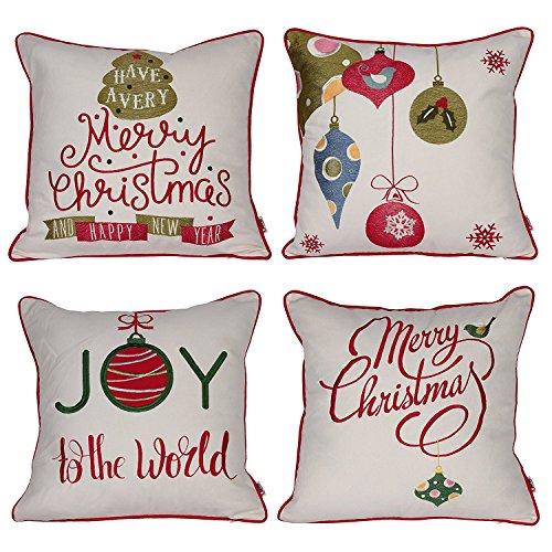 Queenie-2PCS Christmas Serie II bestickt Baumwolle/Leinen Dekorative Kissenbezüge Kissenbezug für Sofa Überwurf Kissen Fall Bundle Set Of 4 4 Bundle-fall