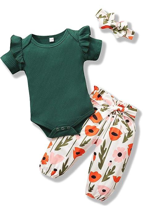 Bogen Stirnband Neugeborene Kleinkinder Babykleidung Outfits Set ZOEREA Baby M/ädchen Kleidung Set R/üschen Schulter Langarm Tops Blumen Hose