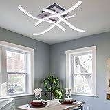 ALLOMN Lámpara de Techo LED, Lámpara de Araña Lámpara de Techo de Diseño Curvo Moderno con 4 Luces Onduladas para Sala de Est