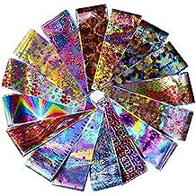 BONNIESTORE 16 Pcs Transferencia Uñas Pegatinas Holográfico Animal Nail Foil Laser Flor Serpiente Único Manicura Patrón Nail Art DIY Decoración
