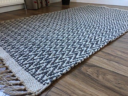 Dark Charcoal Grey Light Fischgrätenmuster Soft Baumwolle Garn natur Teppich 90cm x 150cm (Natur Teppich)