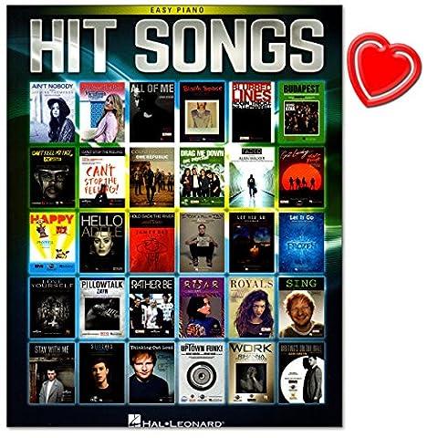 Hit Songs - 30 großartige Songs aus Reihe Easy Piano Songbook für Klavier - Von Adele bis Pharrell Williams, Ed Sheeran bis hin zu Justin Bieber - Notenbuch mit bunter herzförmiger (Hits Songbook)