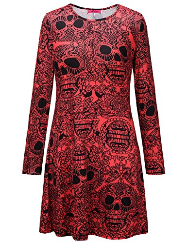 Frauen Horror Club Tragen Bodycon Langarm Swing Red Skeleton Mid Dress Kostüme