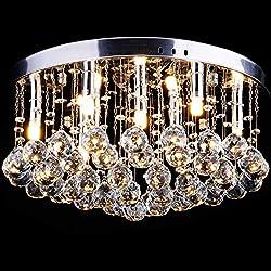 CCLIFE Lustre en Cristal - SuspensionLuminaire- Plafonnier Cristal - Lustre pampilles cristal - Lustre plafonnier cristal - Lustre Escalier en Cristal, Couleur:G9