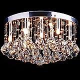 CCLIFE LED Deckenlampe Kristall Deckenleuchte Hängelampe Glaskugeln Ø45cm/Ø50cm Lüster Modern Design für Wohnzimmer Schlafzimmer Küche Restaurant usw. 9 x G9 Sockel 40W / 6 x GU10 Sockel Max 50W, Farbe:DKLT001