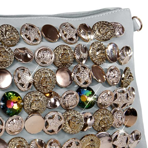 CASPAR Damen Clutch / Abendtasche / Umhängetasche mit ausgefallenem trendy Knopf Dekor - viele Farben hellblau