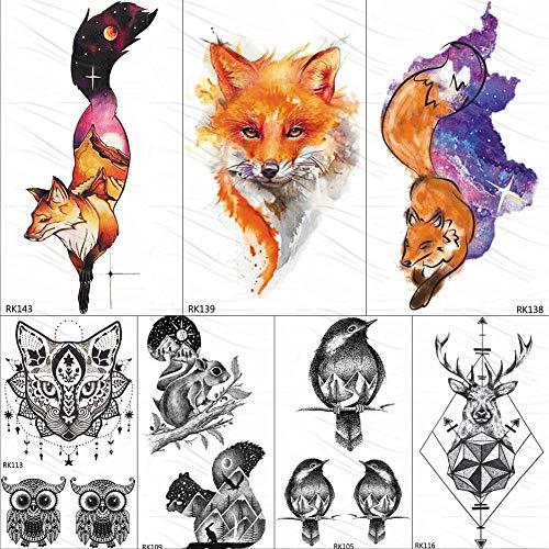 KAMRL Temporäre Tattoo-Aufkleber Mode DIY Galaxy Fox Temporäre Tattoos Für Frauen Aufkleber Berg Gefälschte Tätowierung Für Kid Benutzerdefinierte wasserdichte Tatoos Body Art