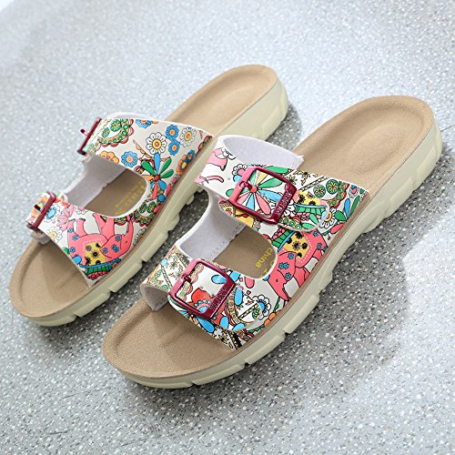 Sandales Chaussures Unisexe Adulte - Mules Sandales Femme Chaussures - Chaussures en Liège Sandales Pour Homme Fleur rouge