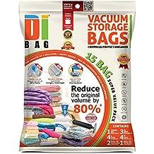 DIBAG COMBO Set Vacuum Storage Bags. 15 Bags Set. 1 Jumbo (122*88 cm)+ 3 XL(100*67 cm) + 4 L(85*54 cm) +4 Medium(57*45 cm) + 2 Travel Roll-Up Bags (45*57 cm) without suction+ 1 Roll-Up Bag (50*34 cm) without suction.