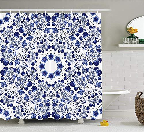 JIEKEIO Flower Shower Curtain, Middle Eastern Swirl Petals with Ethnic Ottoman Folk Art Effects Boho Arabesque Design, Fabric Bathroom Decor Set with Hooks, 60 * 72inch Extra Long, Blue -
