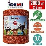Fil de cloture electrique 2000 Mt - 2,2 mm² Gemi Elettronica - moutons, porcs,...