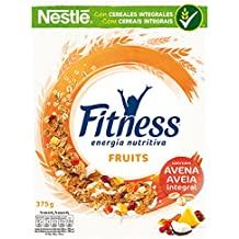 Cereales Nestlé Fitness Fruits - Copos de trigo integral, arroz y avena integral tostados con