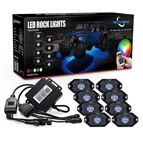 MICTUNING 8pcs RGB LED Beleuchtung mit Bluetooth Timing Musik Kontrolle für Fahrzeug Schiff (Batteriebetriebenes Stroboskop Licht)
