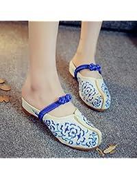 DESY Peony ricamato scarpe, suola tendine, stile etnico, femminile caduta di vibrazione, modo, comodo, sandali , beige , 37