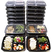 Misc Home [20 Pack] 3 Compartment Meal Prep Containers Bpa Free Portion Control Bento Boxes (39 Oz.)
