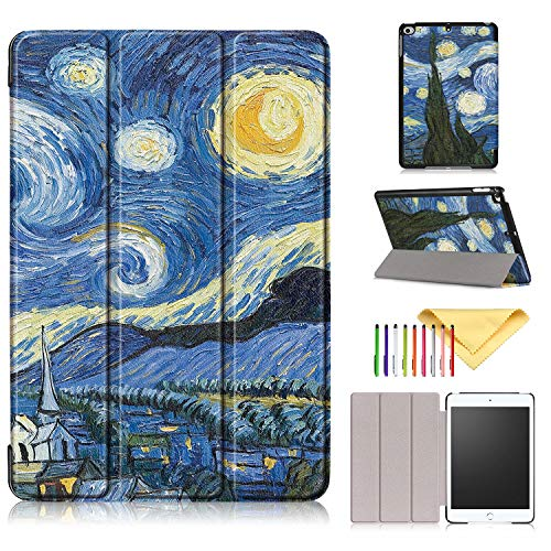 2019 iPad Mini 5 Hülle, iPad Mini 4 Hülle, Cookk Slim Lightweight Skinshell Trifold Stand Smart Cover mit Auto Sleep/Wake für Apple iPad Mini 5 2019 & iPad Mini 4.9 Zoll Tablet #002_Starry Night - Mini Tri Fold Wallet