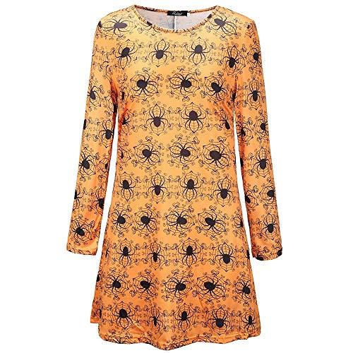 RENJIANFENG Damen Swing Kleid Halloween New Pumpkin Skulls Fledermäuse Print Langarm Skater Ausgestelltes Kleid Damen Halloween Plus Size Swing Kleid,C,S