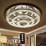 Junhong Lighting LED 3 Helligkeit Kristall Lampe Modern Chrom Runde LED Deckenleuchte Schlafzimmer Lampe Restaurant Licht Luxus Atmosphäre Wohnzimmer Lampe Mit Fernbedienung (3 Kreis(D60cm x 23cm))