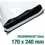 100 Folienmailer® Versandbeutel C5: Plastik Versandtaschen 170x240mm, selbstklebend und blickdicht, Versandbeutel aus Plastik für Kleidung und Textilien