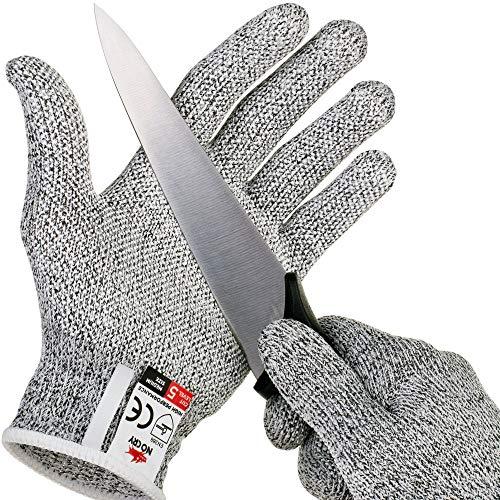NoCry schnittsichere Handschuhe mit Griffnoppen – Leistungsfähiger Level 5 Schutz, lebensmittelecht. Größe: XL, 1 Paar