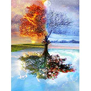Broadroot Handmade Wishing Tree 5D Diamond Full Drill DIY Painting Wall Art Craft Pictures Wall Room Decoration 11.81*15.75 in