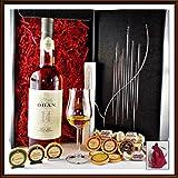 Geschenk Oban 14 Jahre Single Malt mit 9 DreiMeister Edel Schokoladen, 4 Whisky Fudge, 1 Glas, kostenloser Versand