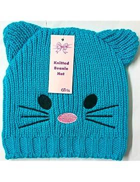 Las niñas orejas de cara de gato de punto Beanie cielo cálido gorro de invierno más barato en EBAY, pompón Azul...