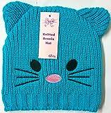 Mädchen Cat Face Ohren Strick Mütze Sky Warm Winter Hat Günstigstes Angebot auf eBay, Pompon hellblau