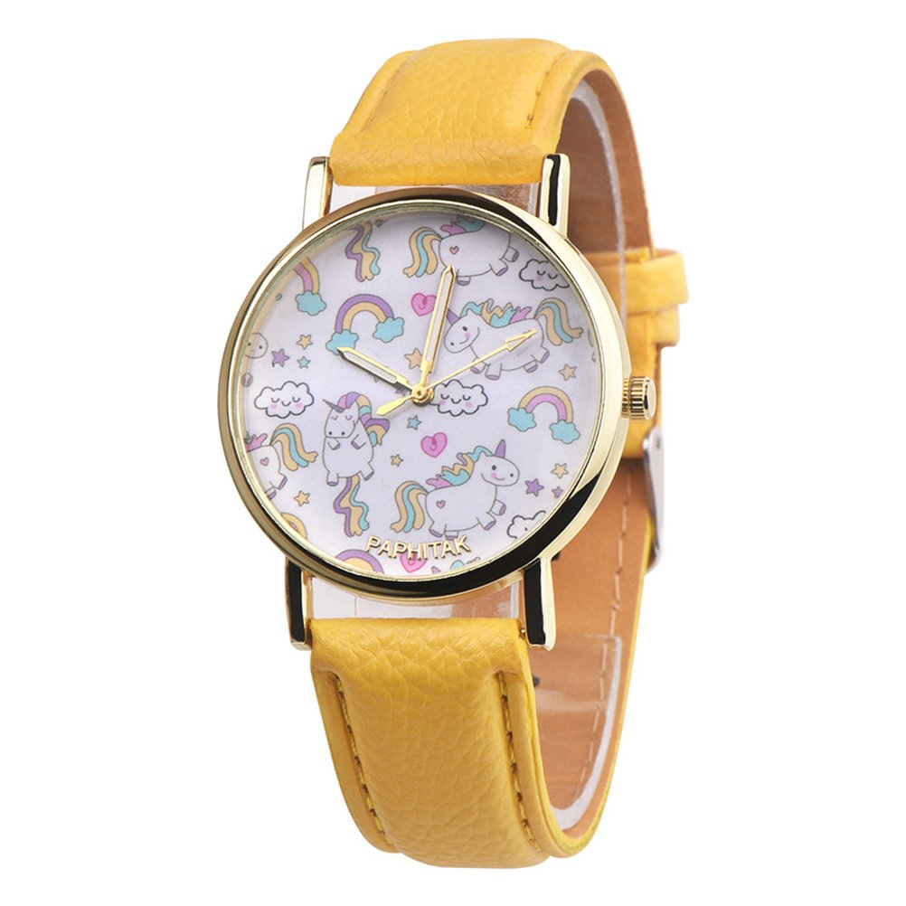 Profusion Circle Girl's Lovely Unicorn Quartz Wrist Watch Analog Display Faux Leather Band Wristwatch Children's Birthday Gift