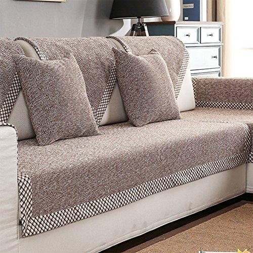 HM&DX Baumwolle Knitted Sofa Abdeckung Sofa Überwurf Multi-Size Anti-rutsch Schmutzresistent Einfarbig Sofahusse Für sektionaltore Couch-Brown 90x160cm(35x63inch) - Ally Brown