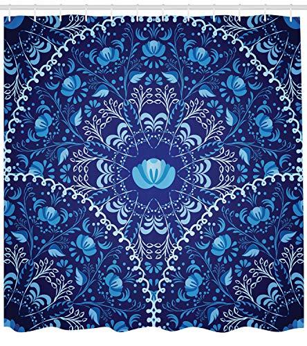 ABAKUHAUS Blumen Duschvorhang, Orientalisches Kreisdesign, mit 12 Ringe Set Wasserdicht Stielvoll Modern Farbfest und Schimmel Resistent, 175x200 cm, Marineblau Weiß und Blau (Blau Duschvorhang Set)