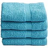 4 tlg. Handtuchset in TÜRKIS, 4x Handtuch 50x100cm 100% Baumwolle 500g/m²