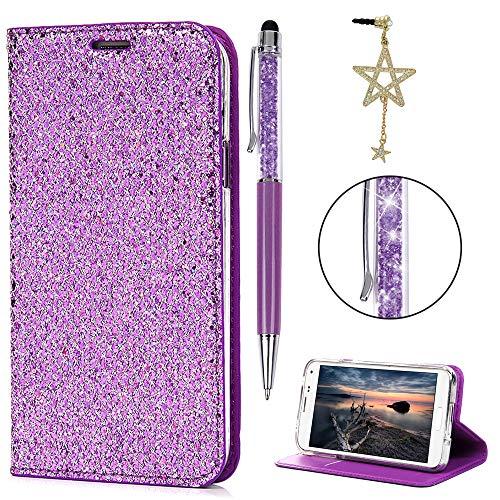 iAdvantec Hülle Case für Samsung Galaxy S5 9600, Filp Leder Wallet Handyhülle Flipcase : Bookstyle Glitter Tasche Brieftasche Schutzhülle in Lila + Stöpsel + Stylus