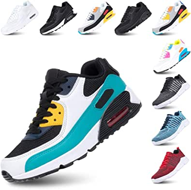 Mens Trainers Women Sport Shoes Running Lace up Sneakers Low Top Ladies Casual Breathable Mesh Footwear Waking Fitness Black Blue Grey Pink White UK3.5-UK12(EU36-EU47)