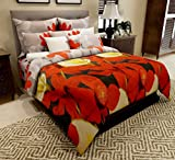 Home Candy Elegant Floral 3-D Reactive Print Double Bedsheet with 2 Pillow Covers - Multicolor (SRB-BST-307)