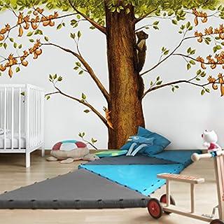 Apalis Kindertapeten Vliestapeten Einhörnchen in Gefahr Fototapete Breit | Vlies Tapete Wandtapete Wandbild Foto 3D Fototapete für Schlafzimmer Wohnzimmer Küche | mehrfarbig, 104822