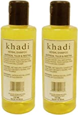 Khadi Herbal Saffron Tulsi and Reetha Shampoo, 420ml (Twin Pack)