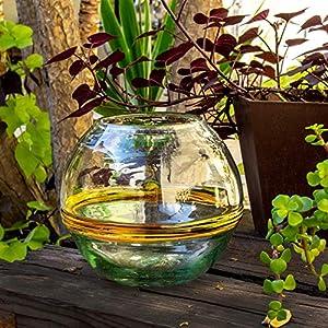 Glasmanufaktur Mitienda, Blumenvase rund 20cm, Terrarium Verano, orange Streifen, mundgeblasene Vase, Terrarium Deko Vase, Geschenkidee